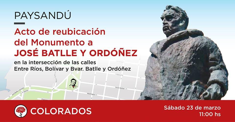Paysandú: Reubican Monumento de Batlle y Ordóñez
