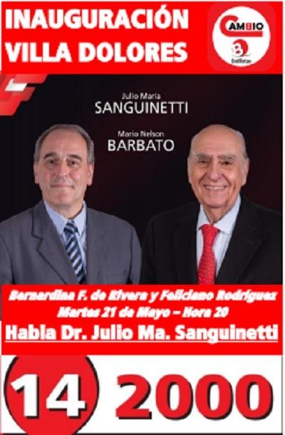 Sanguinetti en Villa Dolores