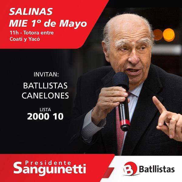 Sanguinetti en Salinas
