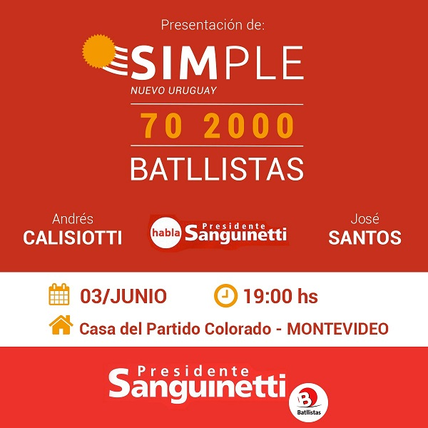 Lanzamiento de SIMPLE 70 2000 en Montevideo
