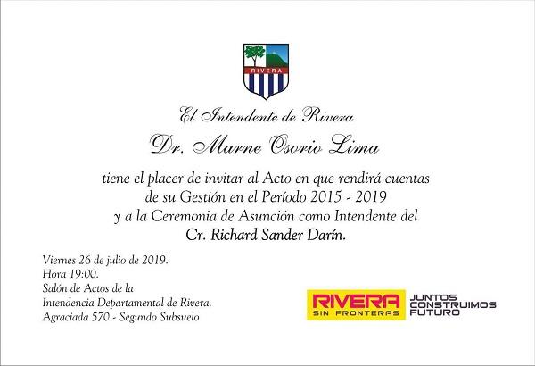Rendición de cuentas y cambio de Intendente en Rivera